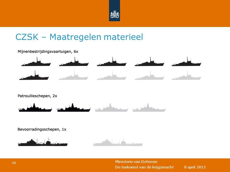 Ministerie van Defensie 10 De toekomst van de krijgsmacht 8 april 2011 CZSK – Maatregelen materieel