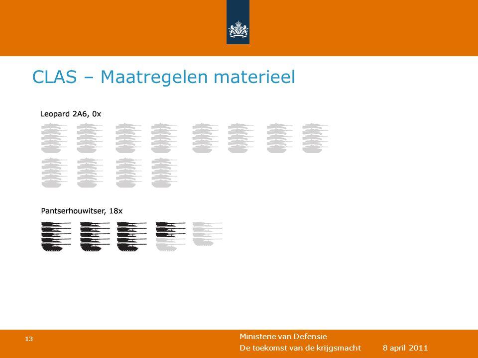Ministerie van Defensie 13 De toekomst van de krijgsmacht 8 april 2011 CLAS – Maatregelen materieel