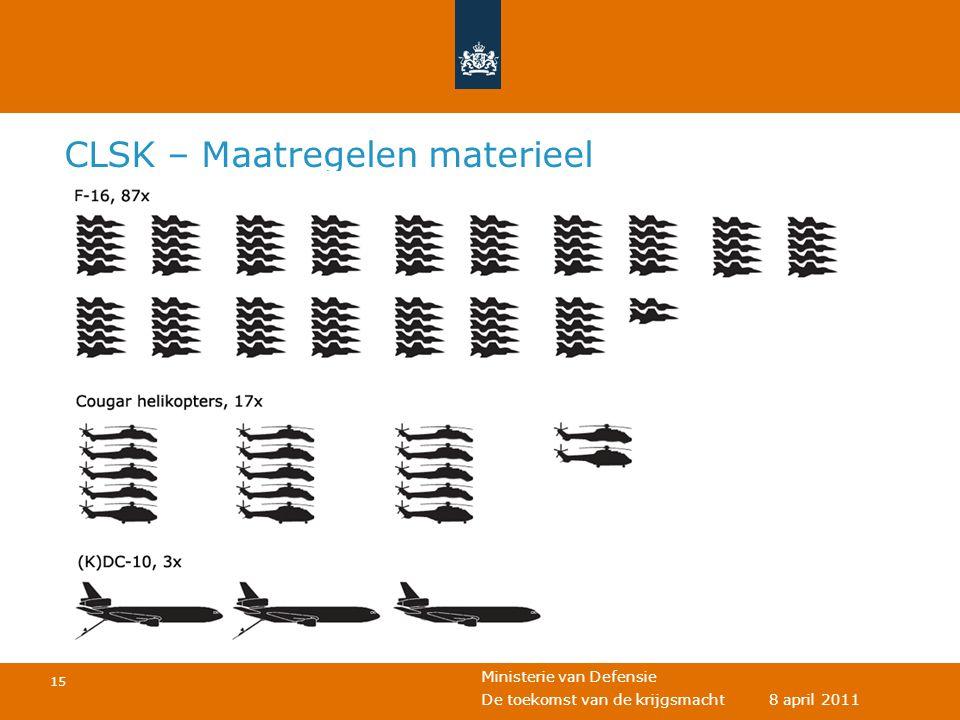 Ministerie van Defensie 15 De toekomst van de krijgsmacht 8 april 2011 CLSK – Maatregelen materieel