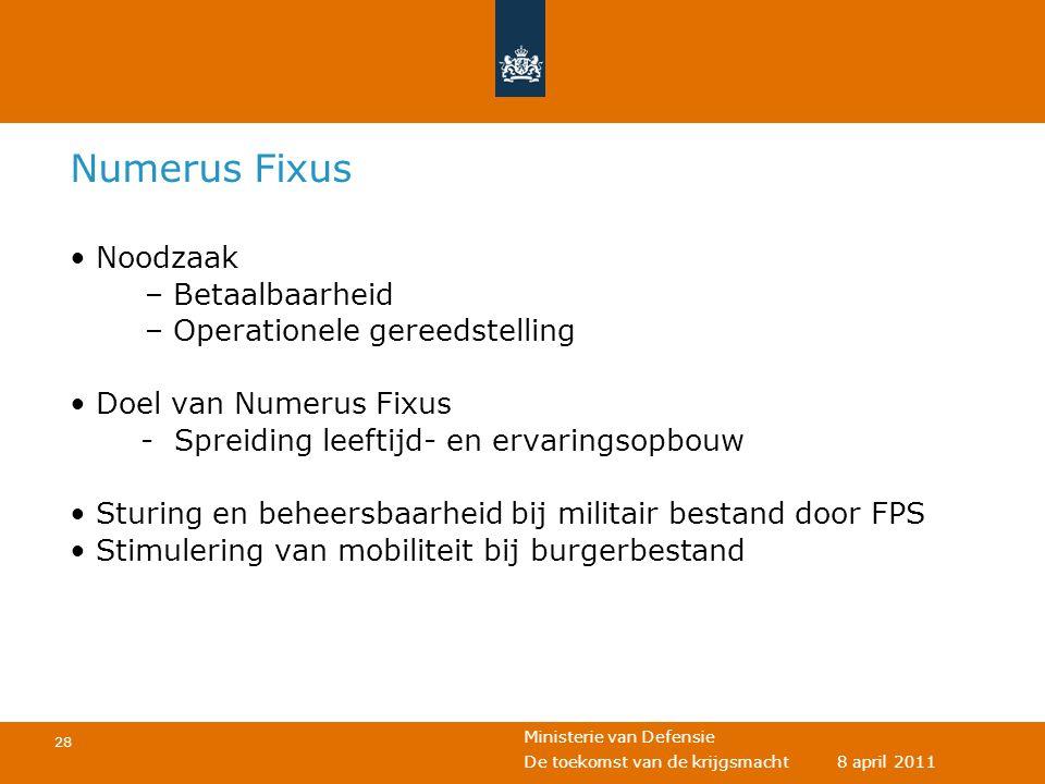 Ministerie van Defensie 28 De toekomst van de krijgsmacht 8 april 2011 Numerus Fixus • Noodzaak – Betaalbaarheid – Operationele gereedstelling • Doel