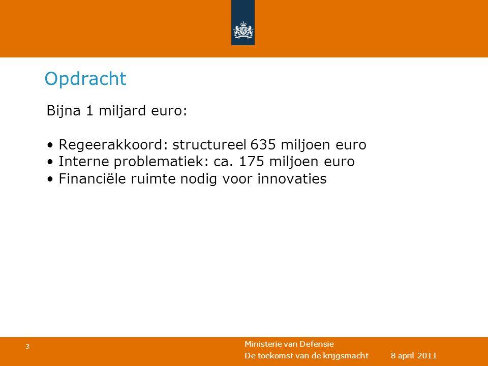 Ministerie van Defensie 3 De toekomst van de krijgsmacht 8 april 2011 Opdracht Bijna 1 miljard euro: • Regeerakkoord: structureel 635 miljoen euro • I
