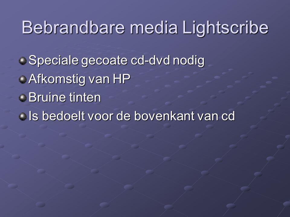 Bebrandbare media Lightscribe Speciale gecoate cd-dvd nodig Afkomstig van HP Bruine tinten Is bedoelt voor de bovenkant van cd