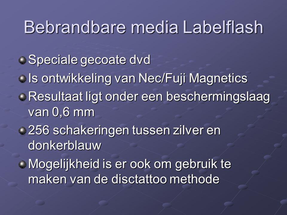 Bebrandbare media Labelflash Speciale gecoate dvd Is ontwikkeling van Nec/Fuji Magnetics Resultaat ligt onder een beschermingslaag van 0,6 mm 256 scha
