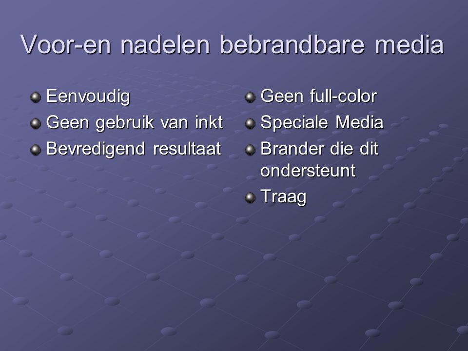 Voor-en nadelen bebrandbare media Eenvoudig Geen gebruik van inkt Bevredigend resultaat Geen full-color Speciale Media Brander die dit ondersteunt Tra