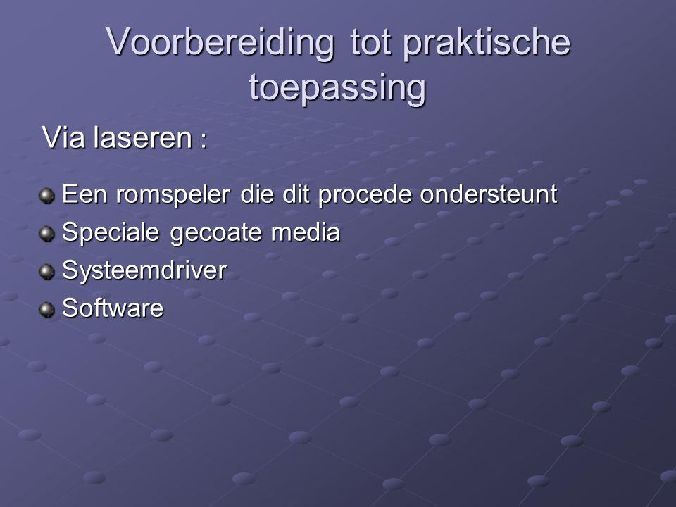 Voorbereiding tot praktische toepassing Via laseren : Een romspeler die dit procede ondersteunt Speciale gecoate media SysteemdriverSoftware