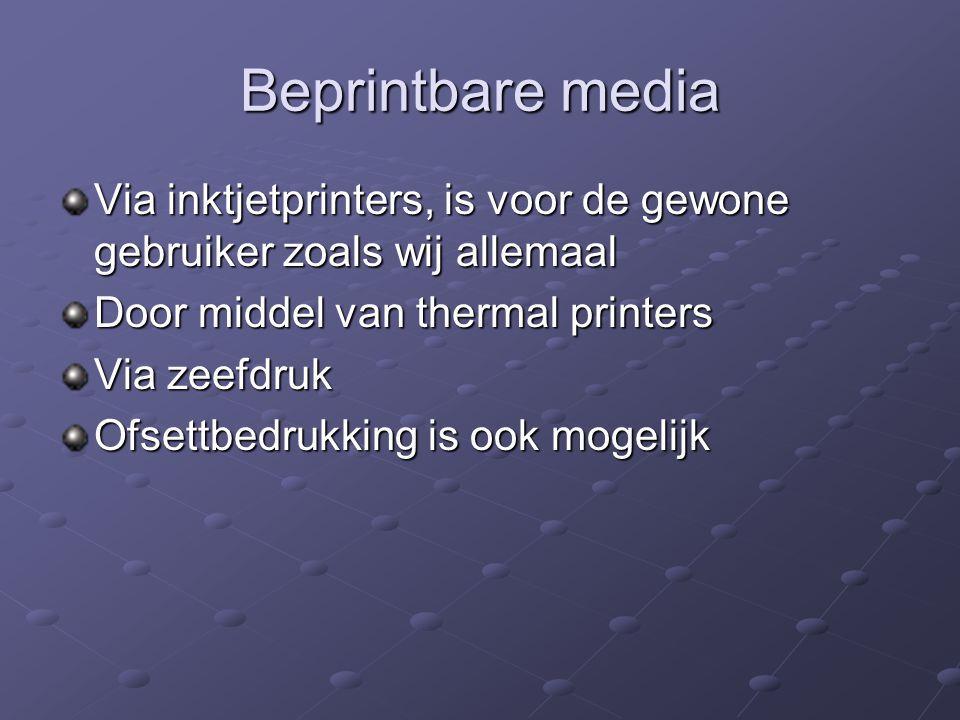 Beprintbare media Via inktjetprinters, is voor de gewone gebruiker zoals wij allemaal Door middel van thermal printers Via zeefdruk Ofsettbedrukking i