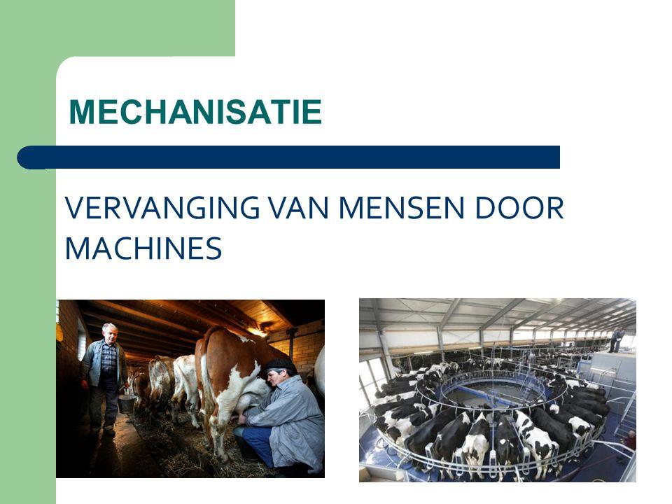 MECHANISATIE VERVANGING VAN MENSEN DOOR MACHINES