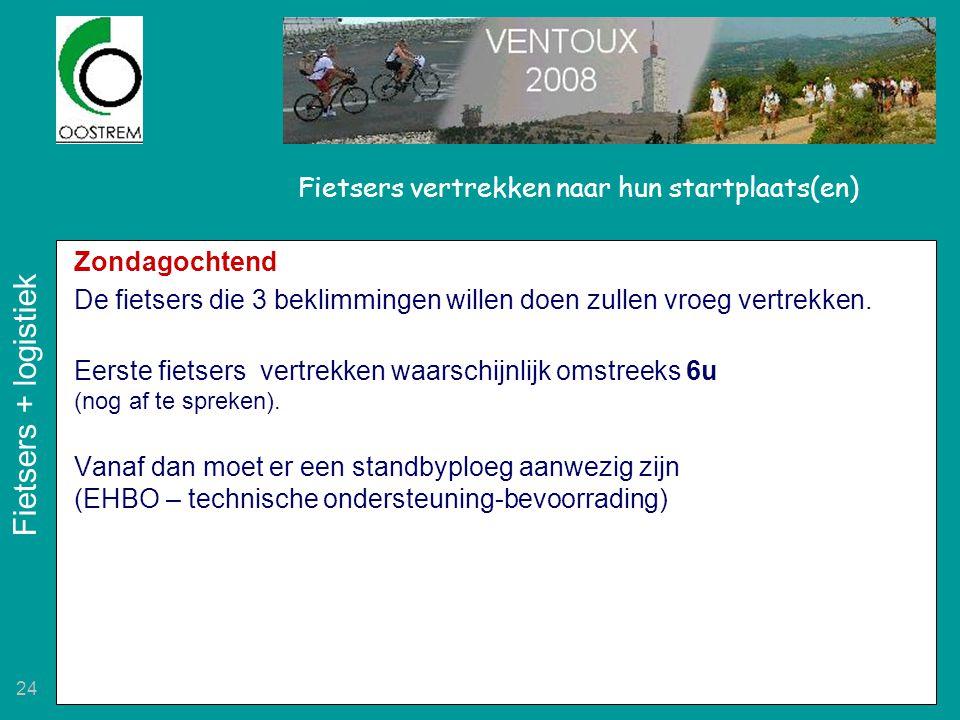24 Fietsers vertrekken naar hun startplaats(en) Zondagochtend De fietsers die 3 beklimmingen willen doen zullen vroeg vertrekken. Eerste fietsers vert