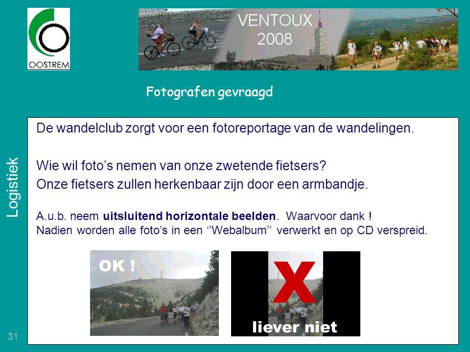 31 Fotografen gevraagd De wandelclub zorgt voor een fotoreportage van de wandelingen. Wie wil foto's nemen van onze zwetende fietsers? Onze fietsers z