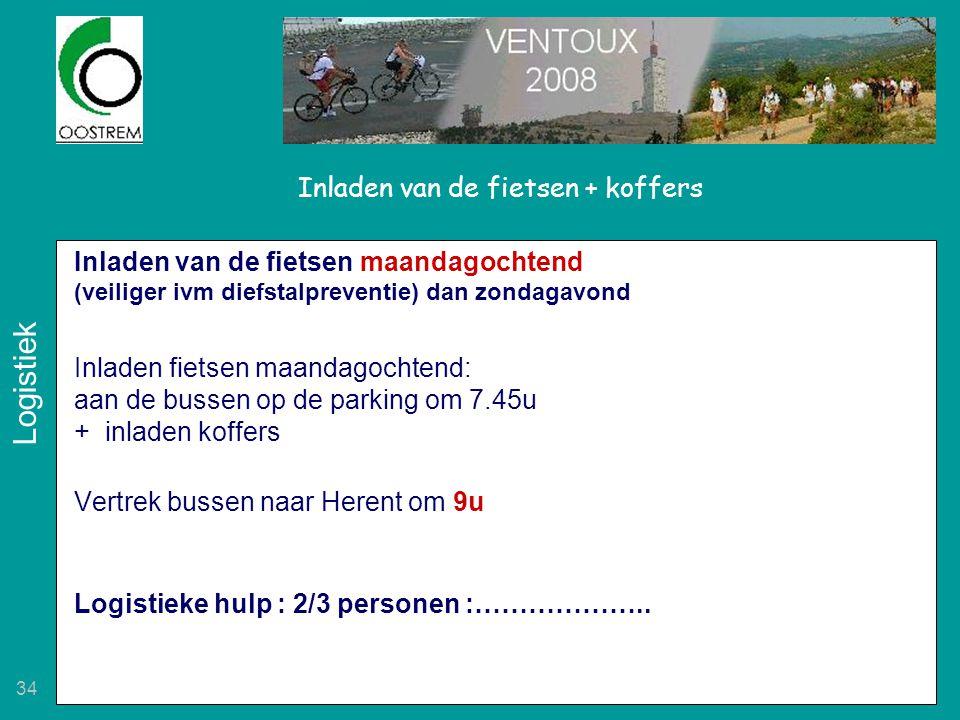 34 Inladen van de fietsen + koffers Inladen van de fietsen maandagochtend (veiliger ivm diefstalpreventie) dan zondagavond Inladen fietsen maandagocht