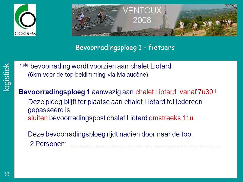 36 Bevoorradingsploeg 1 - fietsers 1 ste bevoorrading wordt voorzien aan chalet Liotard (6km voor de top beklimming via Malaucène). Bevoorradingsploeg