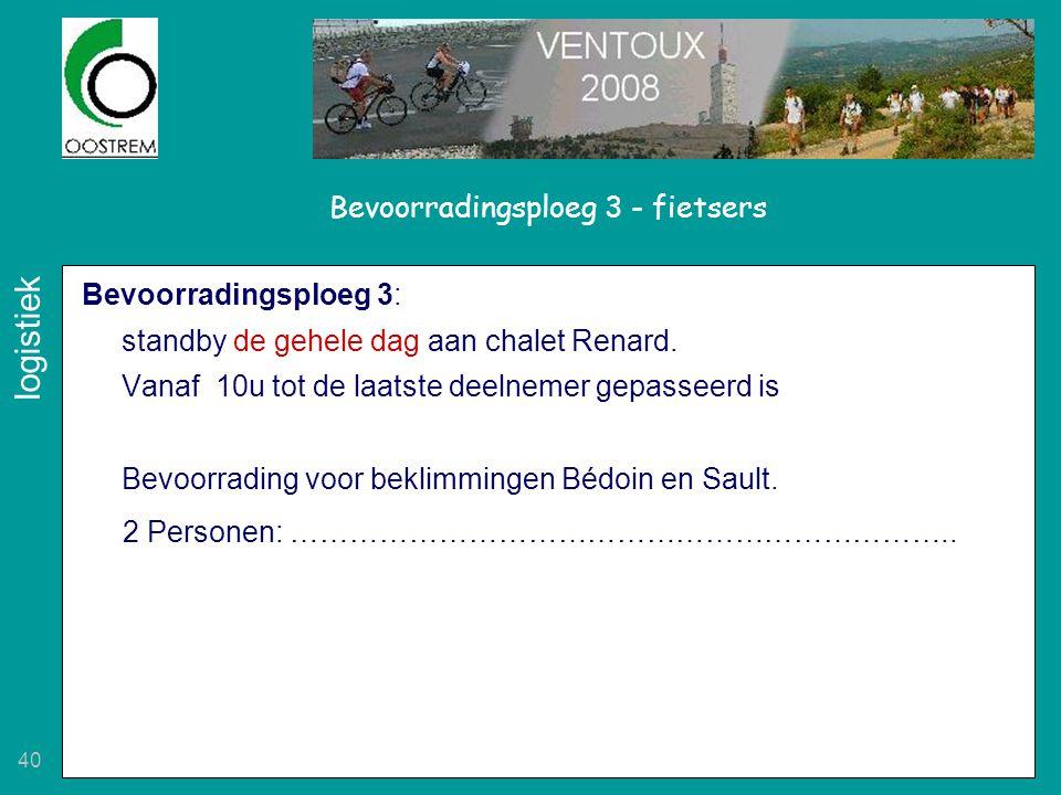 40 Bevoorradingsploeg 3: standby de gehele dag aan chalet Renard. Vanaf 10u tot de laatste deelnemer gepasseerd is Bevoorrading voor beklimmingen Bédo