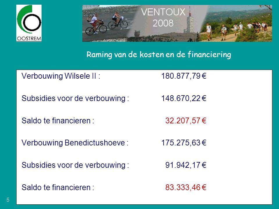 5 Raming van de kosten en de financiering Verbouwing Wilsele II : 180.877,79 € Subsidies voor de verbouwing :148.670,22 € Saldo te financieren : 32.20