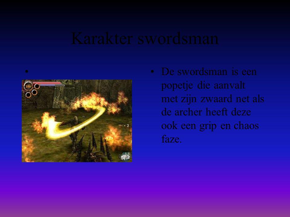 Karakter swordsman • •De swordsman is een popetje die aanvalt met zijn zwaard net als de archer heeft deze ook een grip en chaos faze.