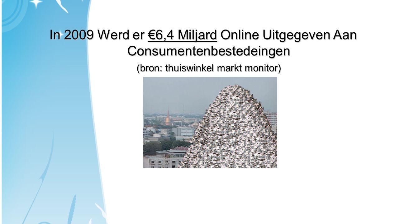 In 2009 Werd er €6,4 Miljard Online Uitgegeven Aan Consumentenbestedeingen (bron: thuiswinkel markt monitor)