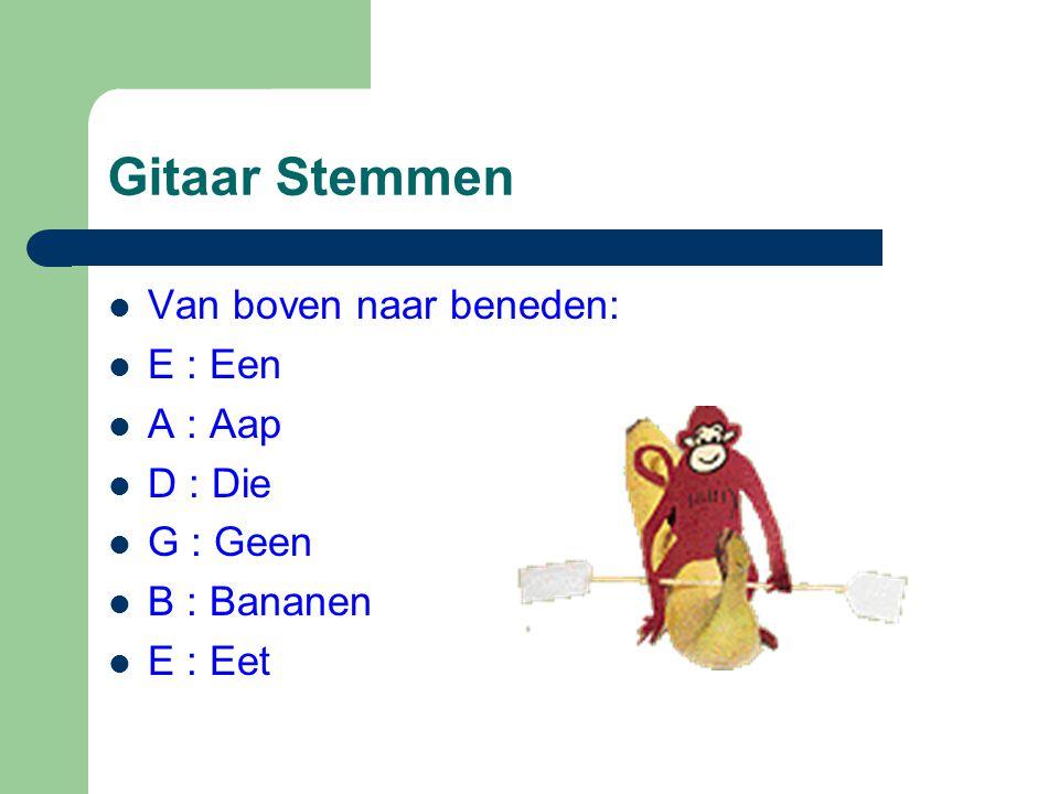 Gitaar Stemmen  Van boven naar beneden:  E : Een  A : Aap  D : Die  G : Geen  B : Bananen  E : Eet