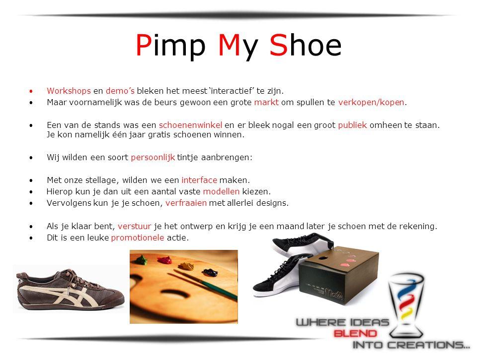 Pimp My Shoe •Workshops en demo's bleken het meest 'interactief' te zijn. •Maar voornamelijk was de beurs gewoon een grote markt om spullen te verkope