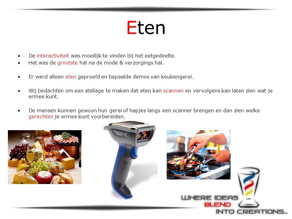 Eten •De interactiviteit was moeilijk te vinden bij het eetgedeelte.
