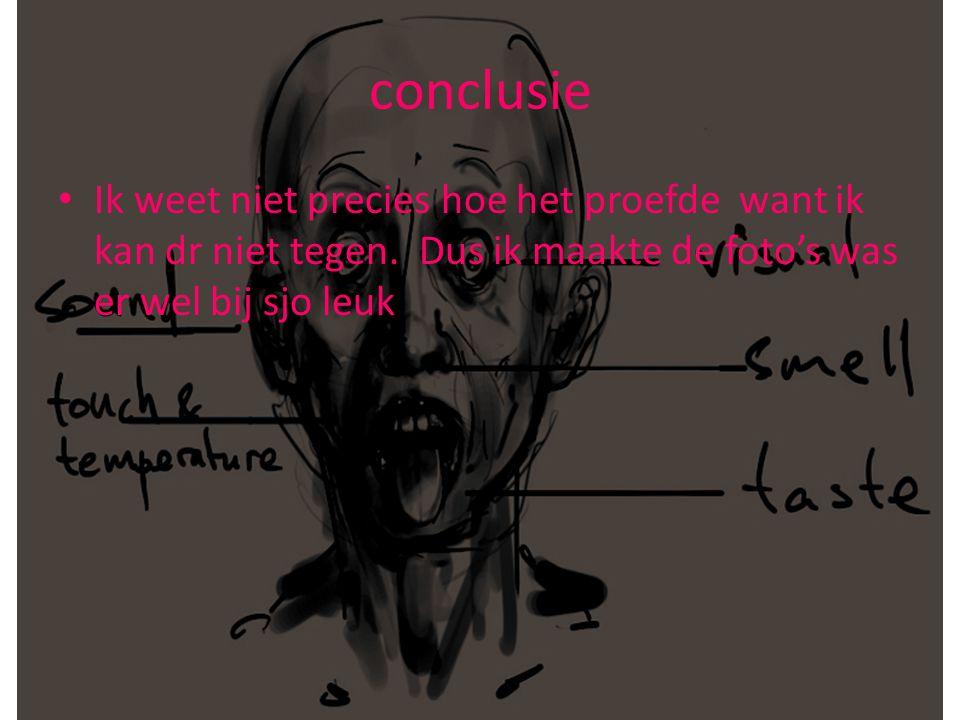 conclusie • Ik weet niet precies hoe het proefde want ik kan dr niet tegen.