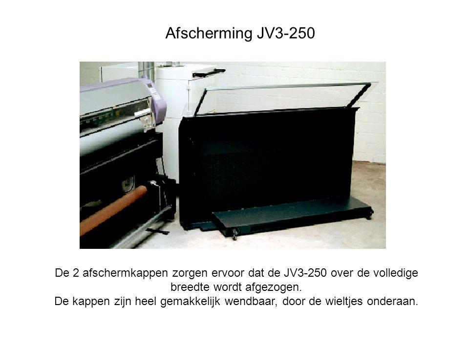 De 2 afschermkappen zorgen ervoor dat de JV3-250 over de volledige breedte wordt afgezogen.