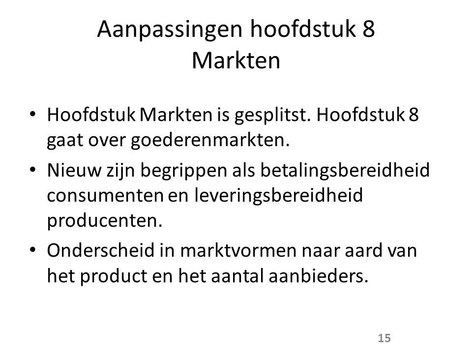 Aanpassingen hoofdstuk 8 Markten • Hoofdstuk Markten is gesplitst.