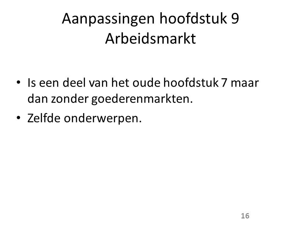 Aanpassingen hoofdstuk 9 Arbeidsmarkt • Is een deel van het oude hoofdstuk 7 maar dan zonder goederenmarkten.