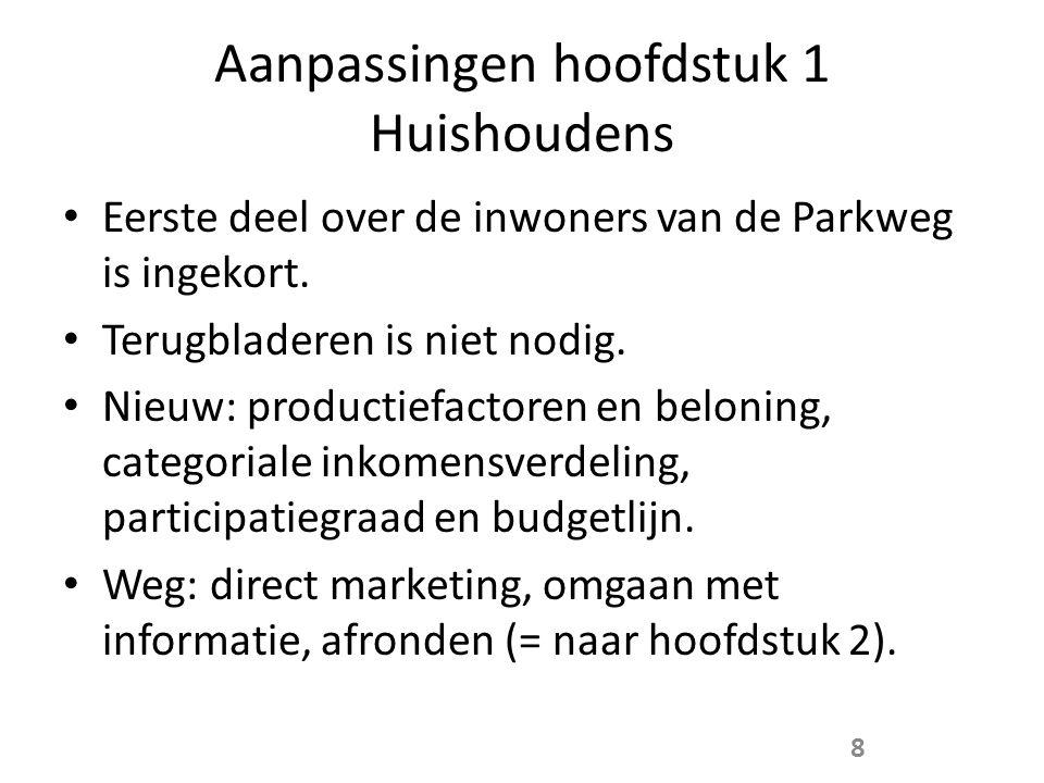 Aanpassingen hoofdstuk 1 Huishoudens • Eerste deel over de inwoners van de Parkweg is ingekort.