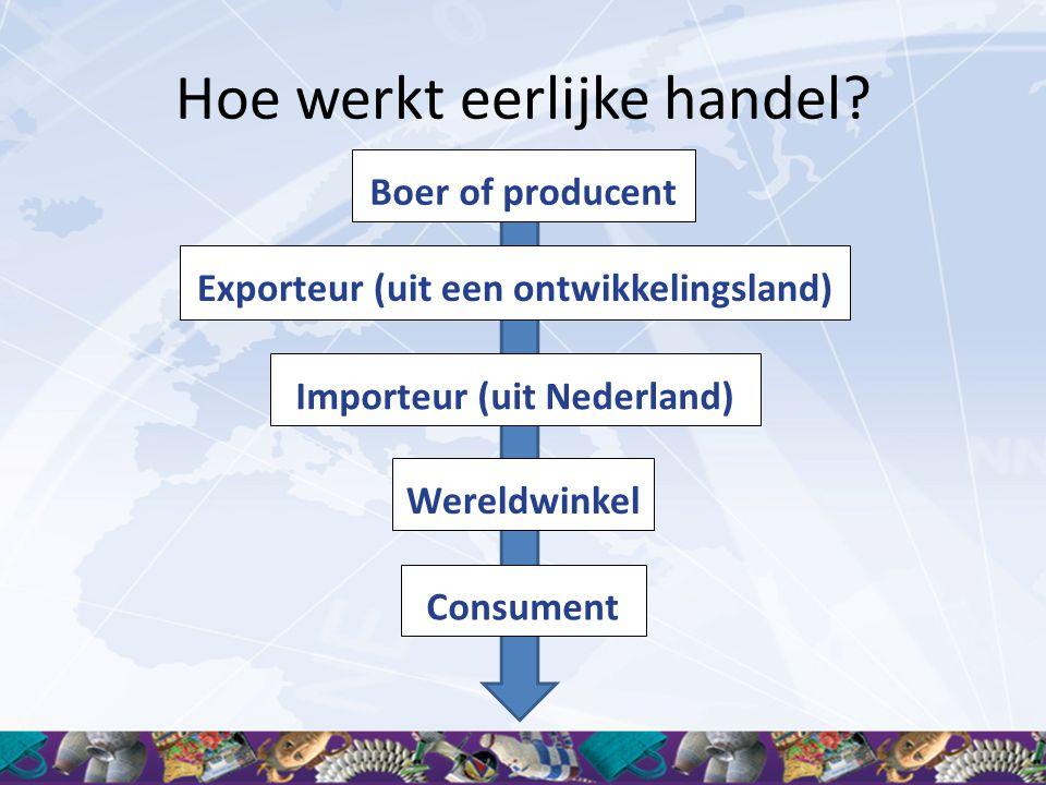 Hoe werkt eerlijke handel? Importeur (uit Nederland) Wereldwinkel Boer of producent Consument Exporteur (uit een ontwikkelingsland)