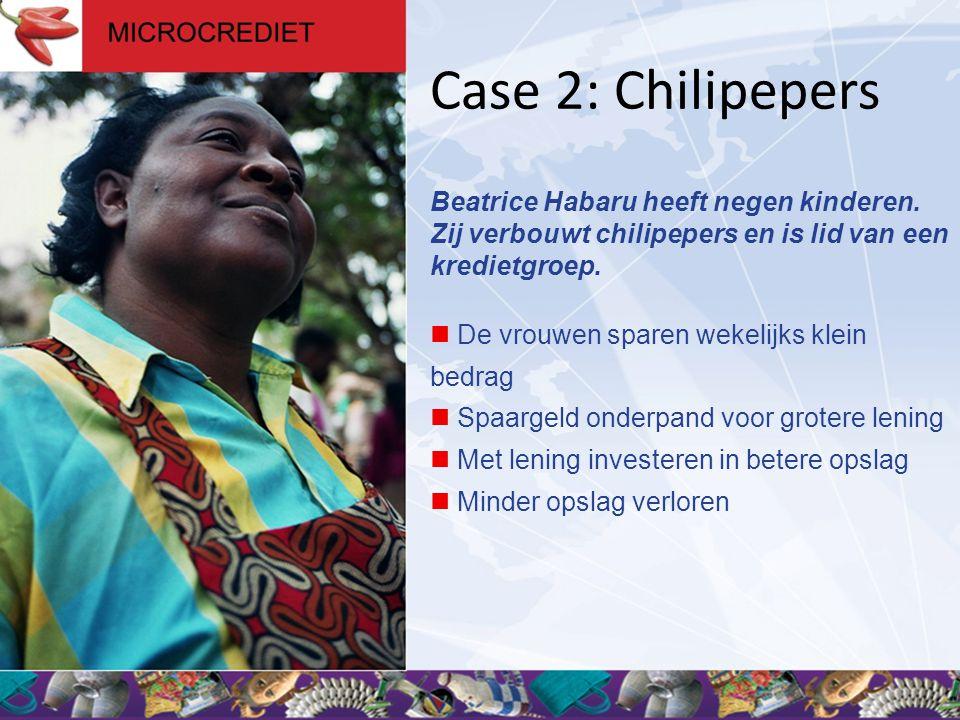 Case 2: Chilipepers Beatrice Habaru heeft negen kinderen. Zij verbouwt chilipepers en is lid van een kredietgroep.  De vrouwen sparen wekelijks klein