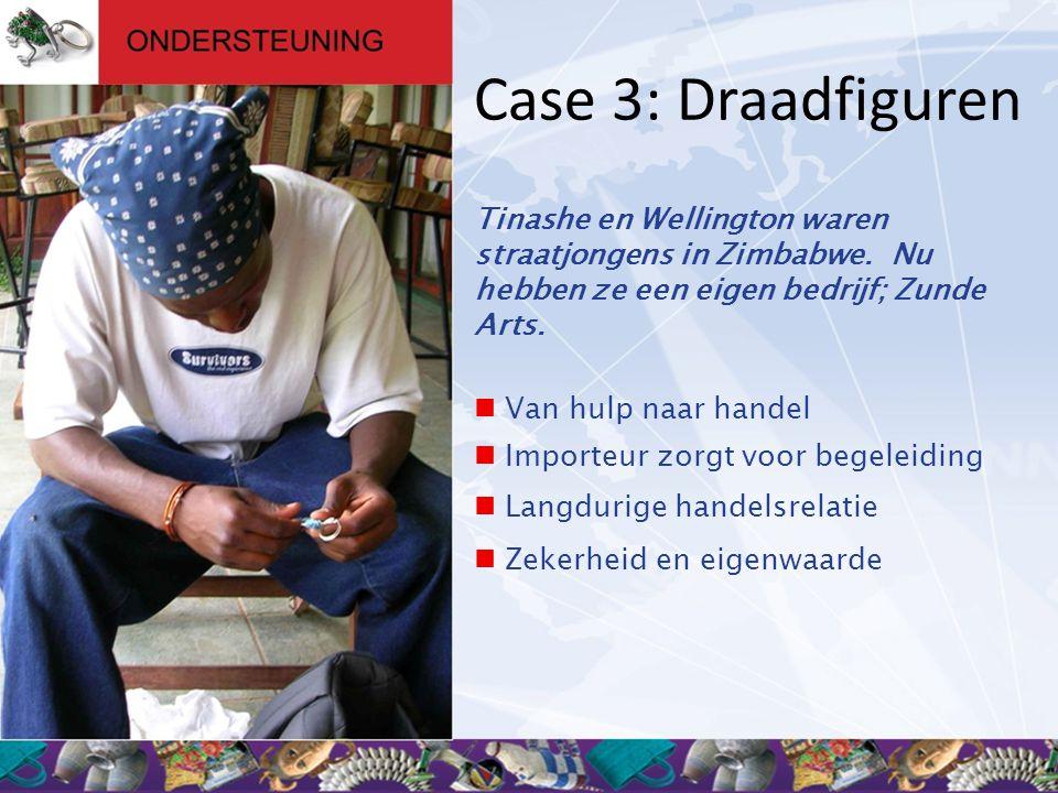 Case 3: Draadfiguren Tinashe en Wellington waren straatjongens in Zimbabwe. Nu hebben ze een eigen bedrijf; Zunde Arts.  Van hulp naar handel  Impor