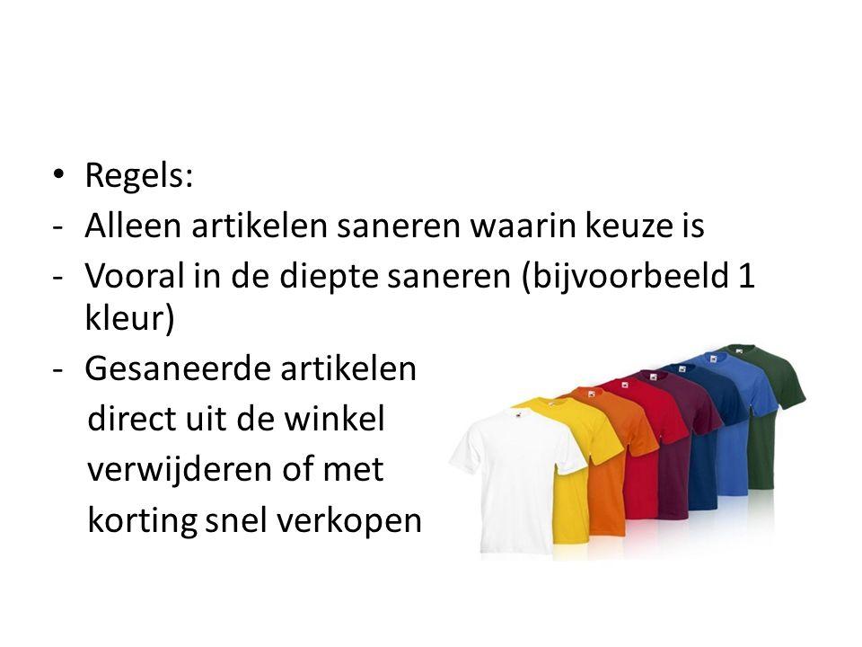 • Regels: -Alleen artikelen saneren waarin keuze is -Vooral in de diepte saneren (bijvoorbeeld 1 kleur) -Gesaneerde artikelen direct uit de winkel verwijderen of met korting snel verkopen