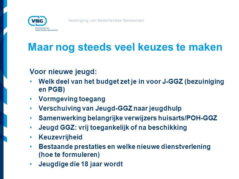 Vereniging van Nederlandse Gemeenten Voor nieuwe jeugd: •Welk deel van het budget zet je in voor J-GGZ (bezuiniging en PGB) •Vormgeving toegang •Versc