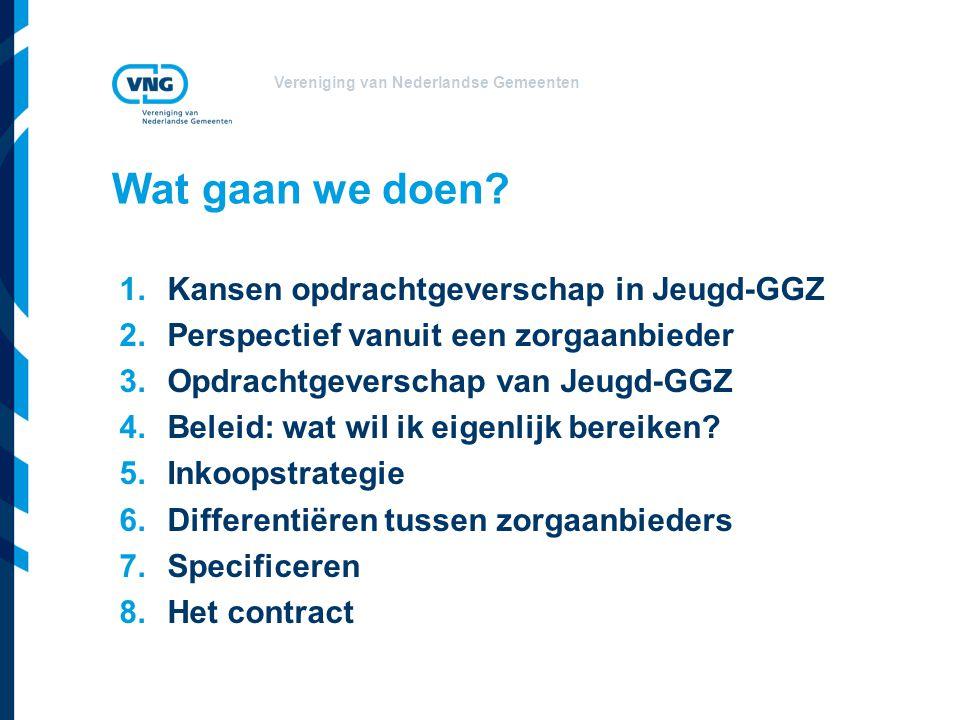 Vereniging van Nederlandse Gemeenten Wat gaan we doen? 1.Kansen opdrachtgeverschap in Jeugd-GGZ 2.Perspectief vanuit een zorgaanbieder 3.Opdrachtgever