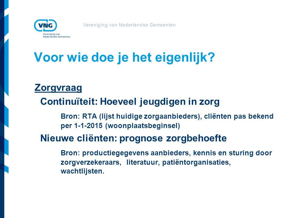 Vereniging van Nederlandse Gemeenten Voor wie doe je het eigenlijk? Zorgvraag Continuïteit: Hoeveel jeugdigen in zorg Bron: RTA (lijst huidige zorgaan