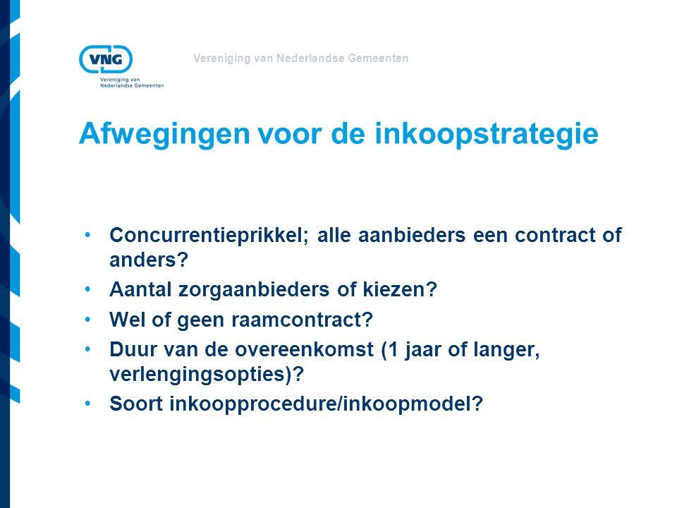 Vereniging van Nederlandse Gemeenten •Concurrentieprikkel; alle aanbieders een contract of anders? •Aantal zorgaanbieders of kiezen? •Wel of geen raam