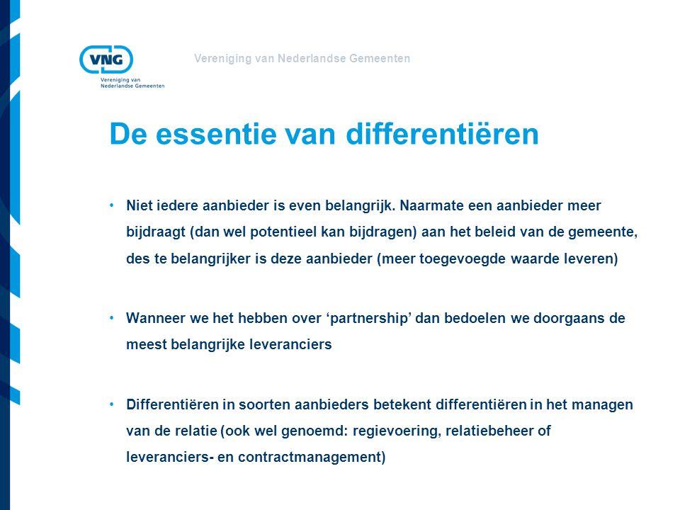 Vereniging van Nederlandse Gemeenten De essentie van differentiëren •Niet iedere aanbieder is even belangrijk. Naarmate een aanbieder meer bijdraagt (
