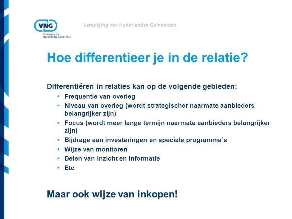 Vereniging van Nederlandse Gemeenten Hoe differentieer je in de relatie? Differentiëren in relaties kan op de volgende gebieden: •Frequentie van overl