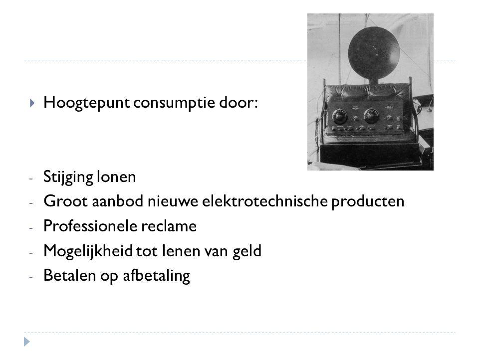 Hoogtepunt consumptie door: - Stijging lonen - Groot aanbod nieuwe elektrotechnische producten - Professionele reclame - Mogelijkheid tot lenen van