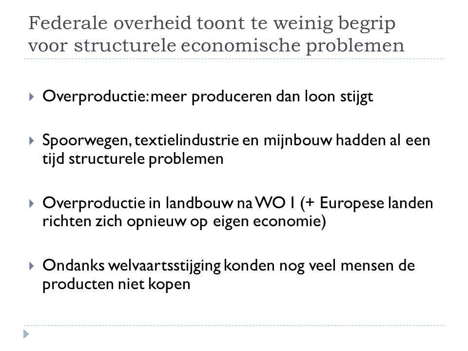 Federale overheid toont te weinig begrip voor structurele economische problemen  Overproductie: meer produceren dan loon stijgt  Spoorwegen, textiel