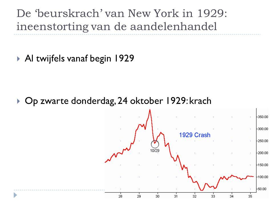 De 'beurskrach' van New York in 1929: ineenstorting van de aandelenhandel  Al twijfels vanaf begin 1929  Op zwarte donderdag, 24 oktober 1929: krach