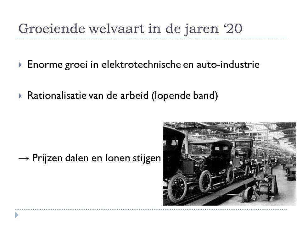Groeiende welvaart in de jaren '20  Enorme groei in elektrotechnische en auto-industrie  Rationalisatie van de arbeid (lopende band) → Prijzen dalen