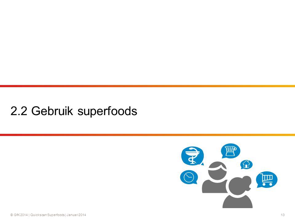 © GfK 2014 | Quickscan Superfoods | Januari 201413 2.2 Gebruik superfoods