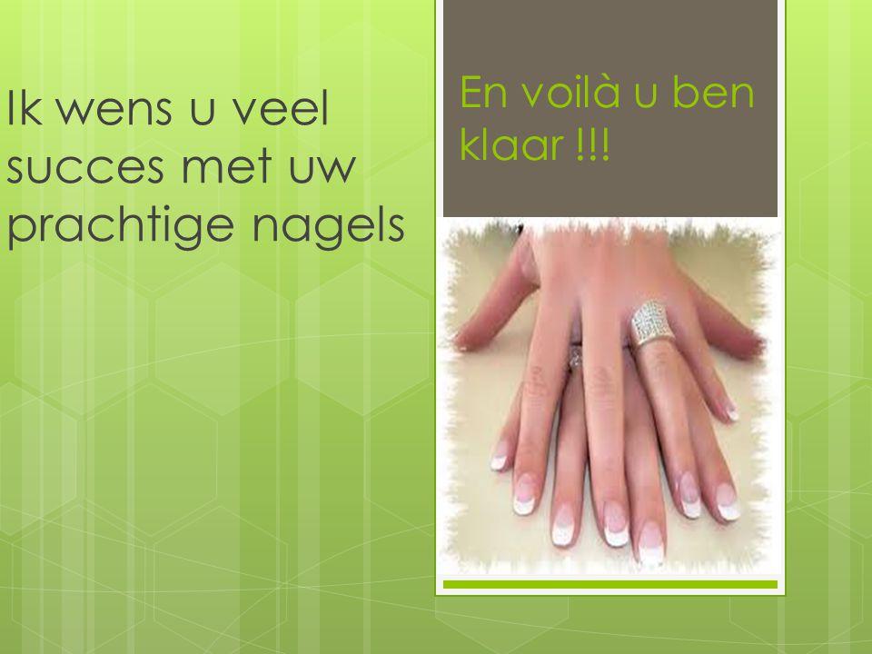 En voilà u ben klaar !!! Ik wens u veel succes met uw prachtige nagels