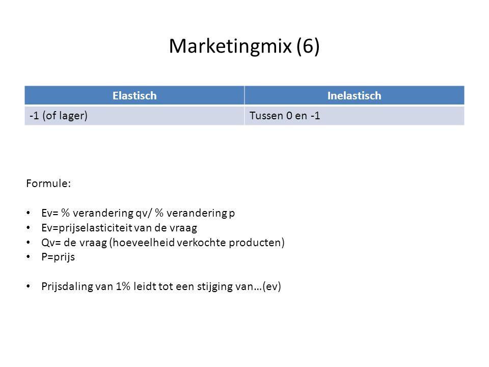 Marketingmix (6) ElastischInelastisch -1 (of lager)Tussen 0 en -1 Formule: • Ev= % verandering qv/ % verandering p • Ev=prijselasticiteit van de vraag
