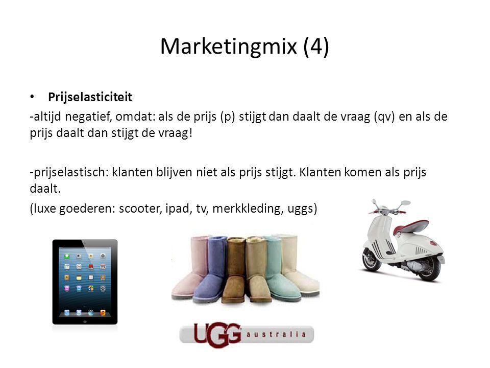 Marketingmix (4) • Prijselasticiteit -altijd negatief, omdat: als de prijs (p) stijgt dan daalt de vraag (qv) en als de prijs daalt dan stijgt de vraa