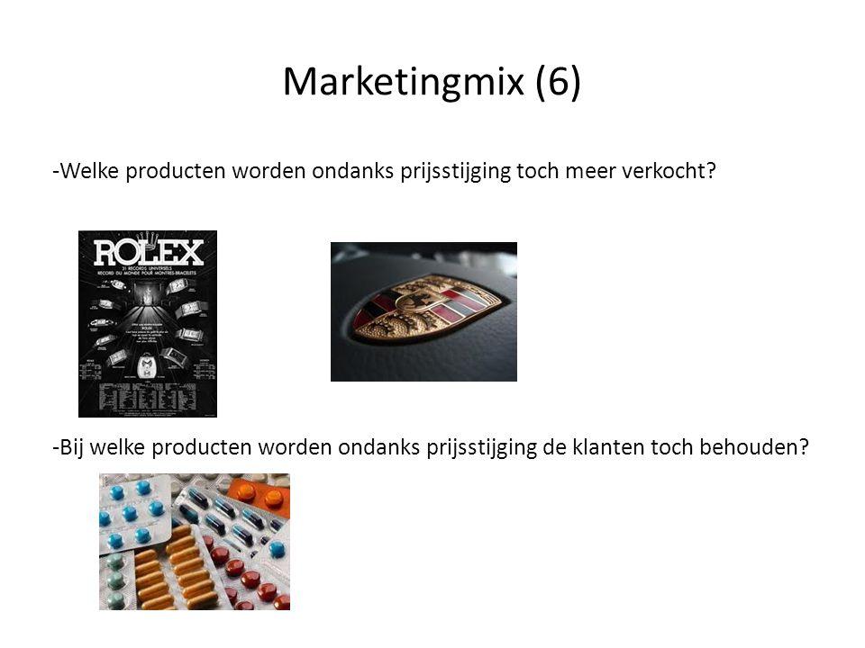 Marketingmix (5) • Bedenk voor jezelf 2 producten die je ondanks de prijsstijging toch nog zou kopen (prijsinelastisch) • Bedenk voor jezelf 2 producten die je niet zo snel meer zou kopen na een prijsstijging (prijselastisch) • Eerst individueel (3m) en daarna in tweetallen bespreken (2m) • Klassikaal bespreken