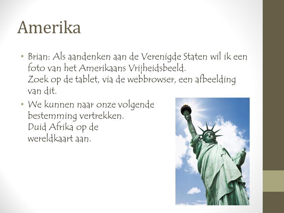 Amerika •Brian: Als aandenken aan de Verenigde Staten wil ik een foto van het Amerikaans Vrijheidsbeeld.