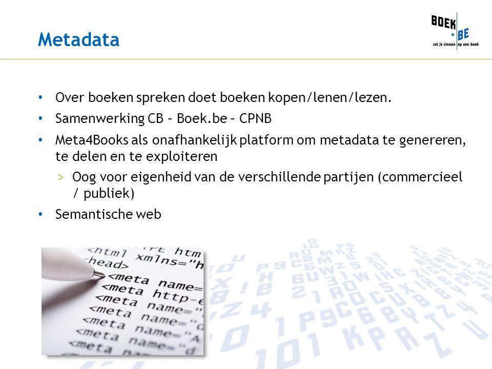Metadata • Over boeken spreken doet boeken kopen/lenen/lezen.