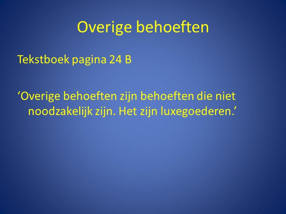 Overige behoeften Tekstboek pagina 24 B 'Overige behoeften zijn behoeften die niet noodzakelijk zijn. Het zijn luxegoederen.'