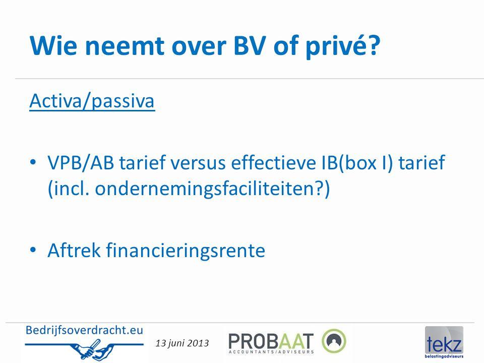 13 juni 2013 Wie neemt over BV of privé? Activa/passiva • VPB/AB tarief versus effectieve IB(box I) tarief (incl. ondernemingsfaciliteiten?) • Aftrek